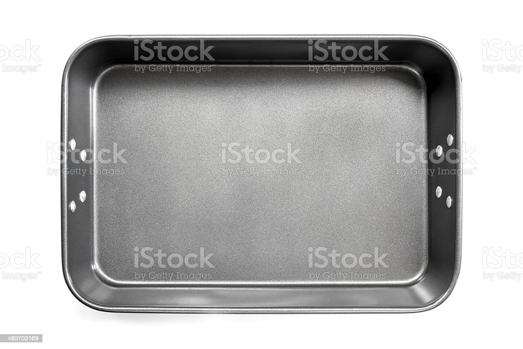 Empty Roasting Pan Top View Isolated stock photo