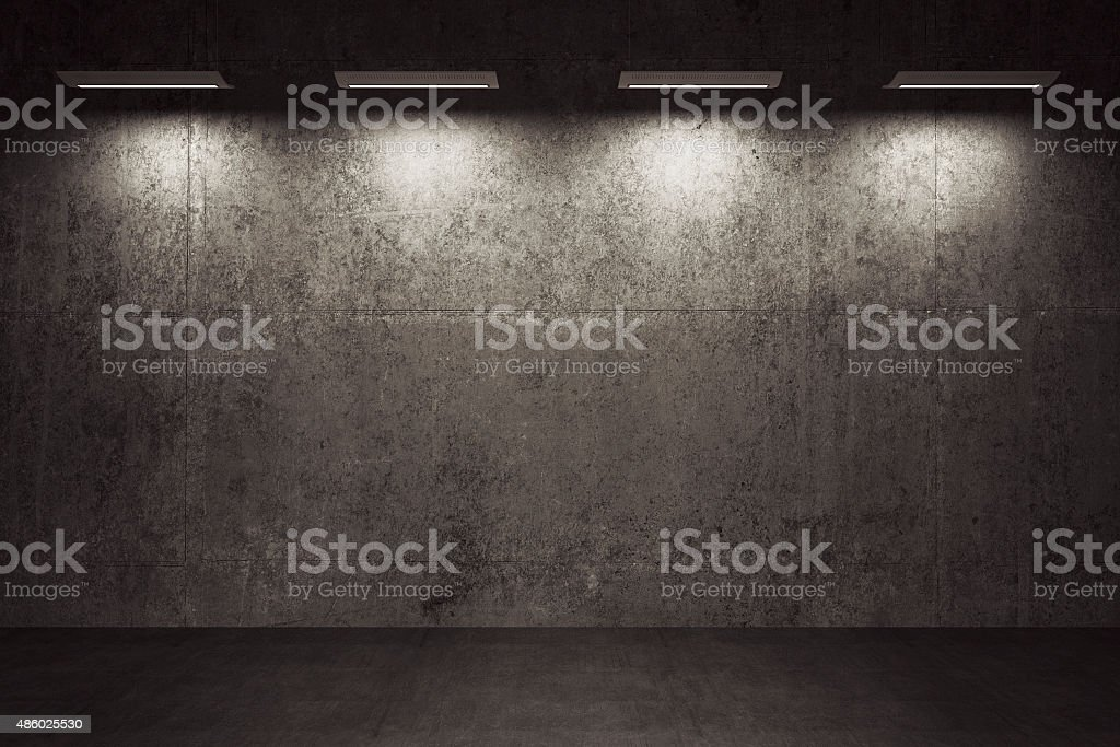 Empty room, concrete walls and floor stock photo