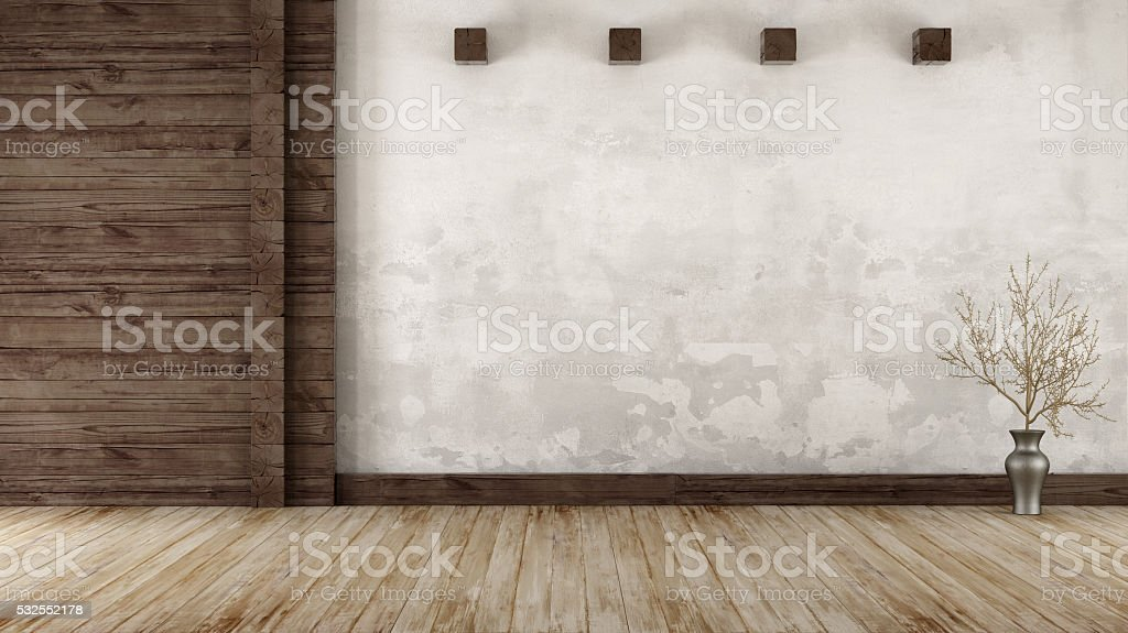 Empty room in rustic style stock photo
