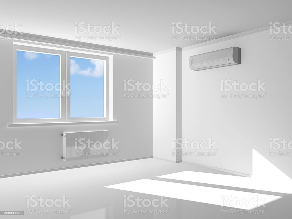 Empty Room Interior with air conditioner on the wall stock photo