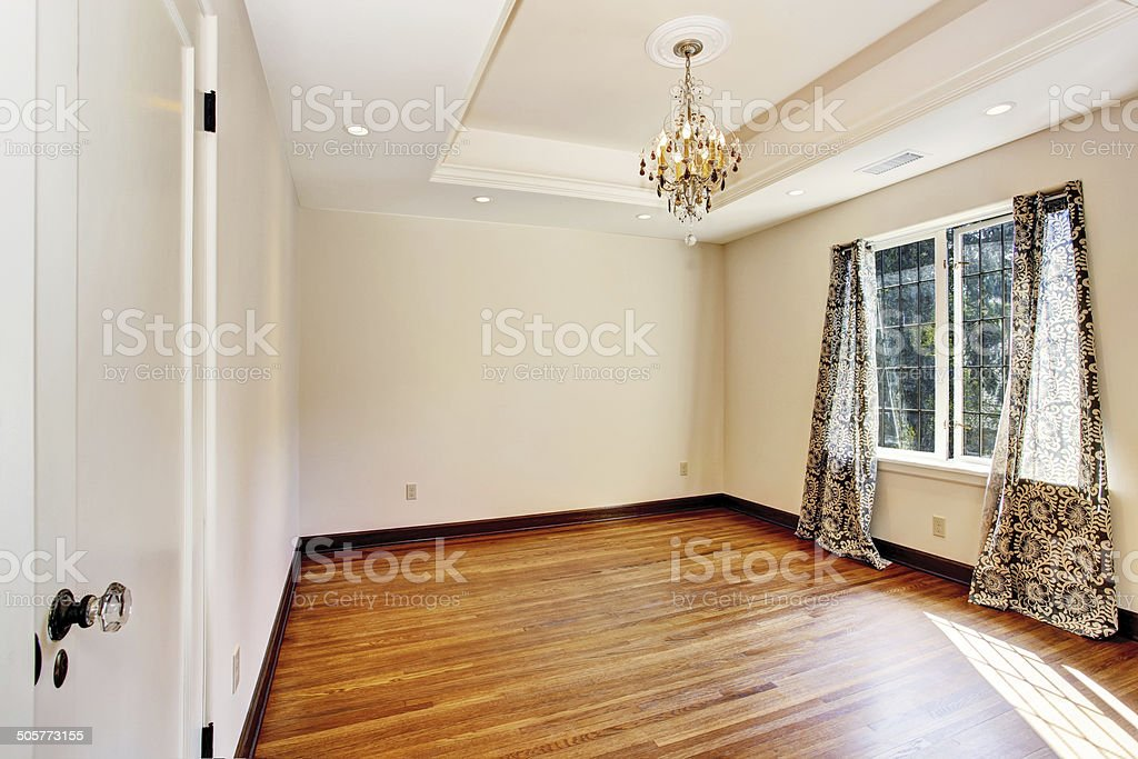 Empty room interior with coffered ceiling stock photo