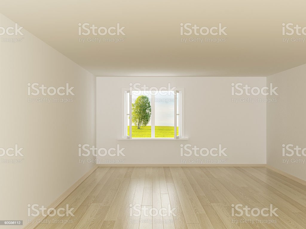 Empty room. Landscape behind the open window. 3D image royalty-free stock photo