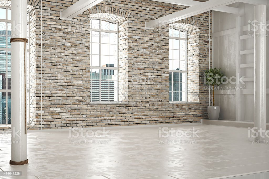 Empty room of business or residence stock photo