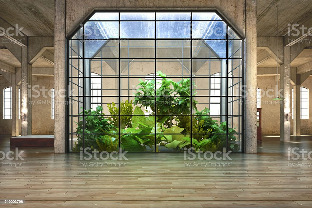 Empty room of business, or residence with atrium background stock photo