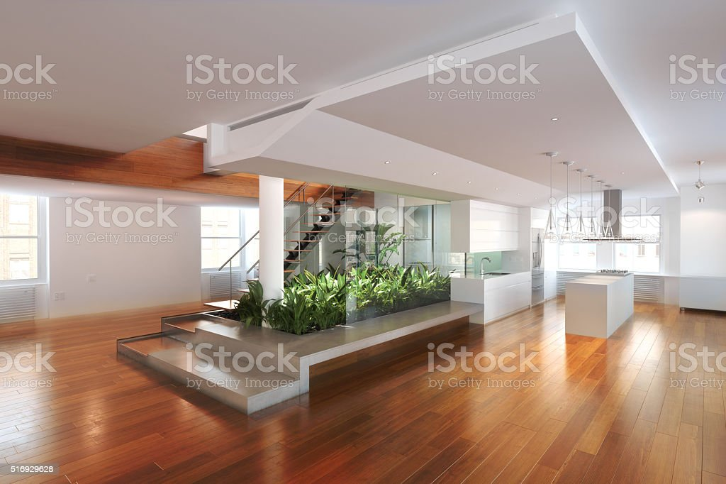 Empty room of residence with an atrium center stock photo