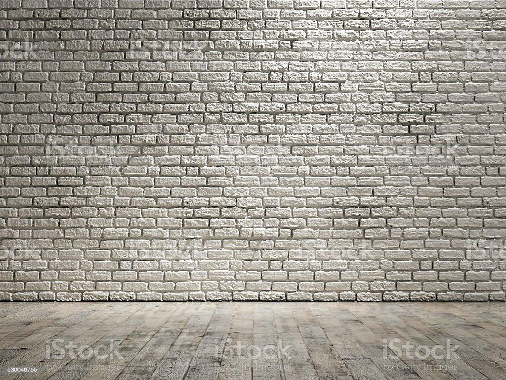 Empty room, wall brick background stock photo