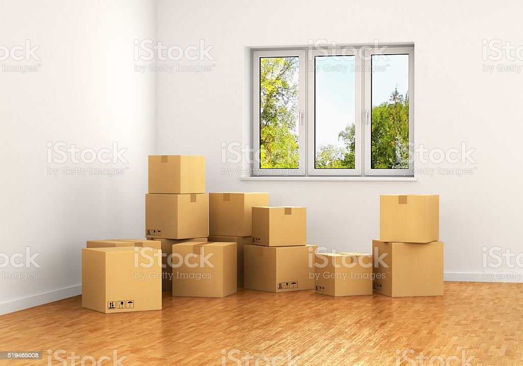 Empty room with a window stock photo