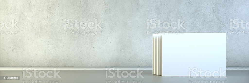 Empty room with blank white screens vector art illustration