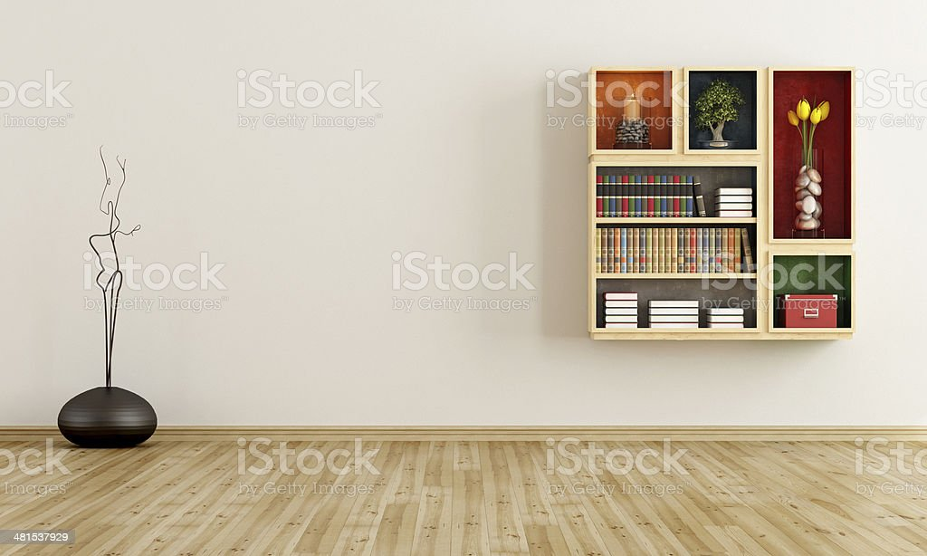 Empty room with bookcase stock photo