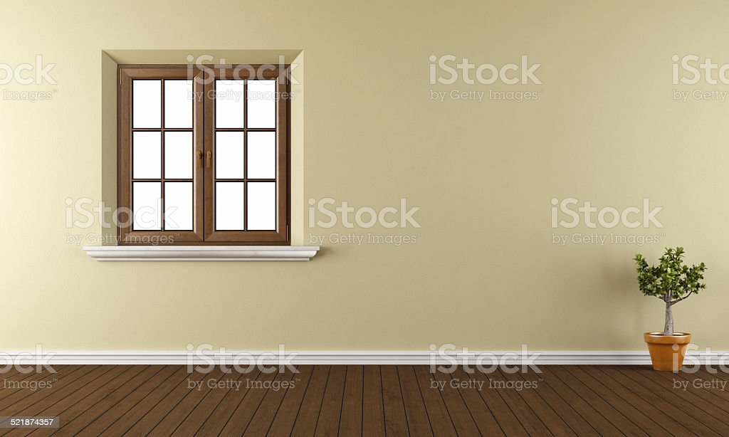Empty room with closed window stock photo