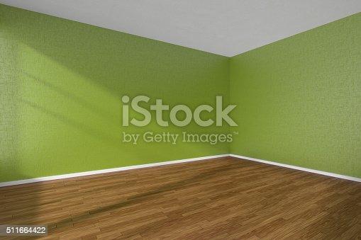 엠티 룸 어둡습니다 나무 마루 바닥 텍스처드 벽 초록색입니다 ...