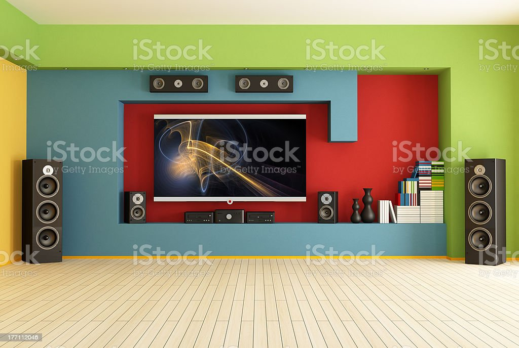 empty room with home theater royalty-free stock photo