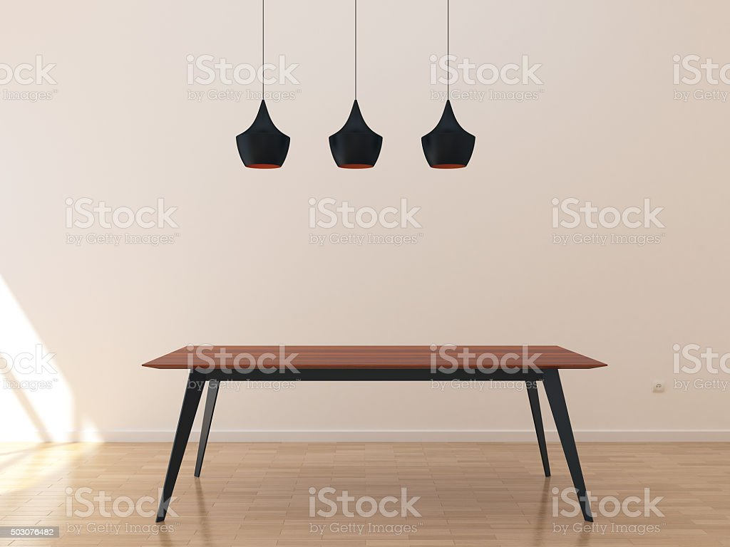 Empty room with kitchen table stock photo