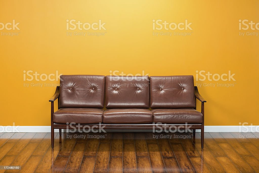 Empty Room With Mid Century Couch royalty-free stock photo