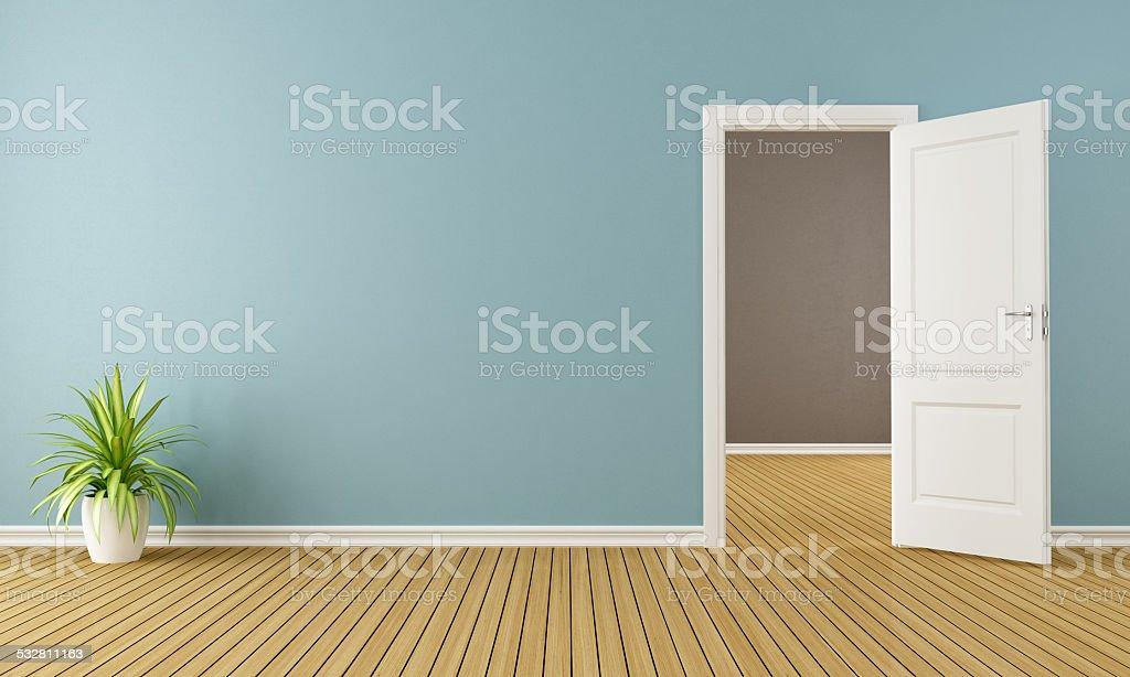 Empty room with opend door stock photo