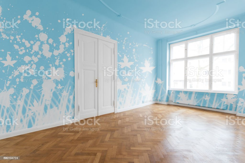Empty room with painted blue walls stock photo