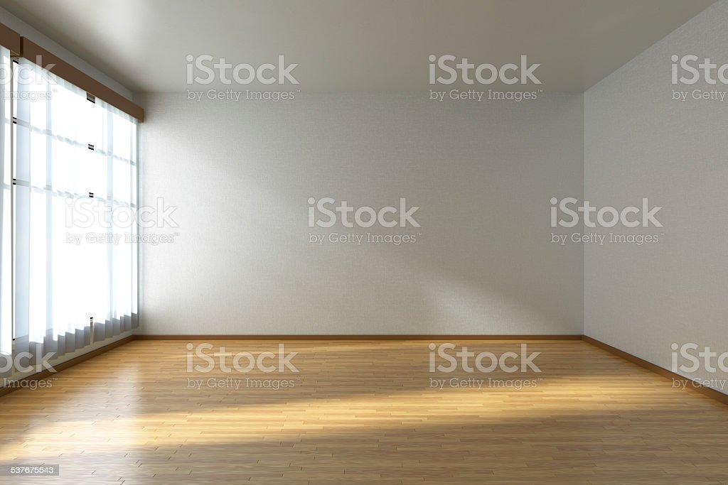 Empty room with parquet floor and window stock photo