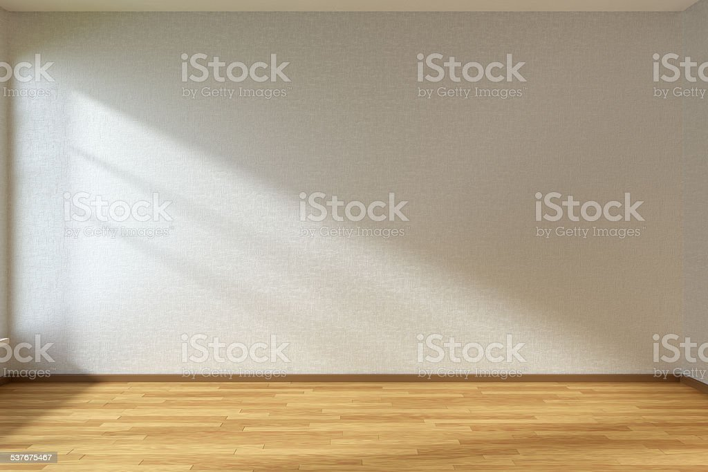 Empty room with parquet floor stock photo