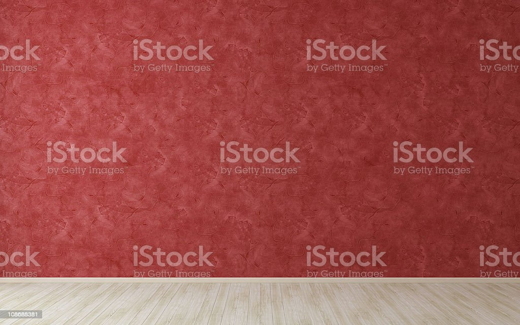 Empty room with red stucco wall stock photo