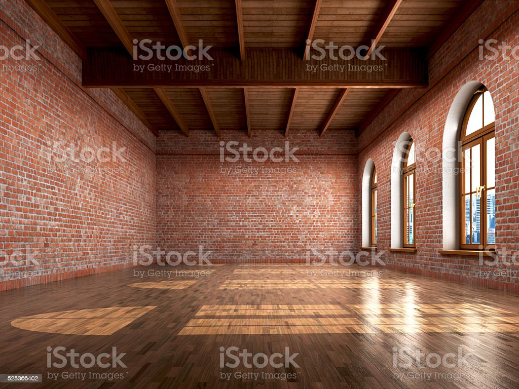 Empty room with rustic finishes stock photo