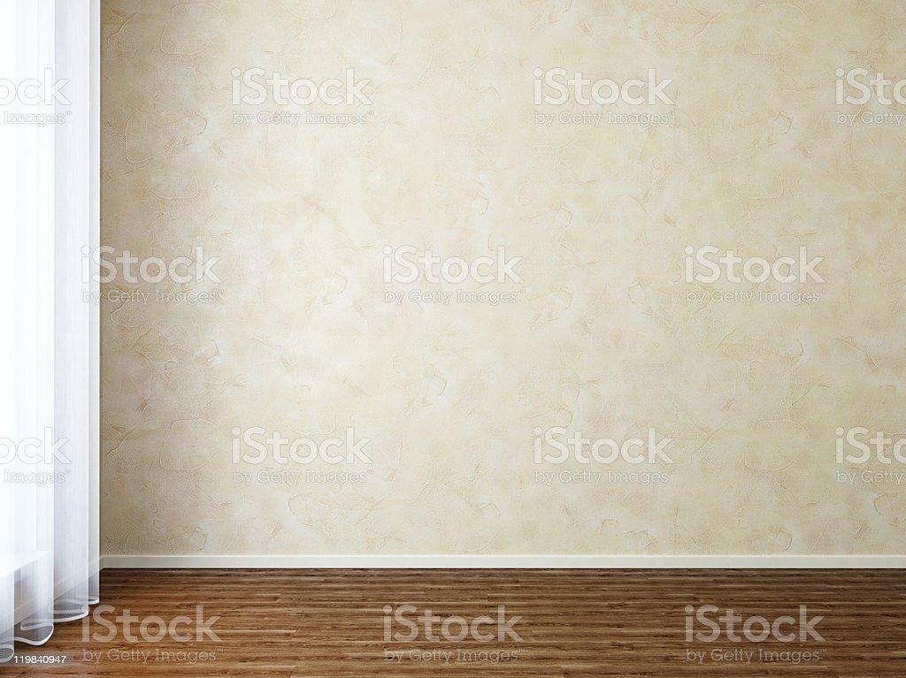 Empty Room with Stucco Wall near Window stock photo
