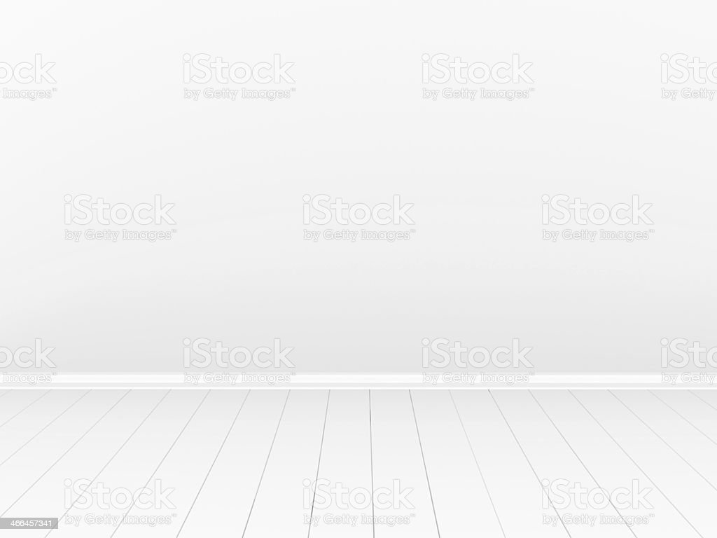 Empty room with white wall and white plank flooring stock photo