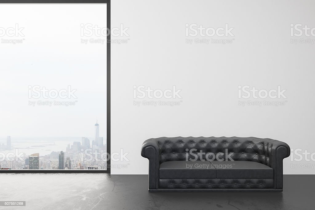 Empty room with white wall, big window with city view stock photo