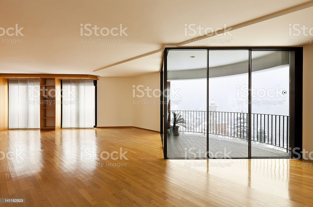 empty room with windows royalty-free stock photo