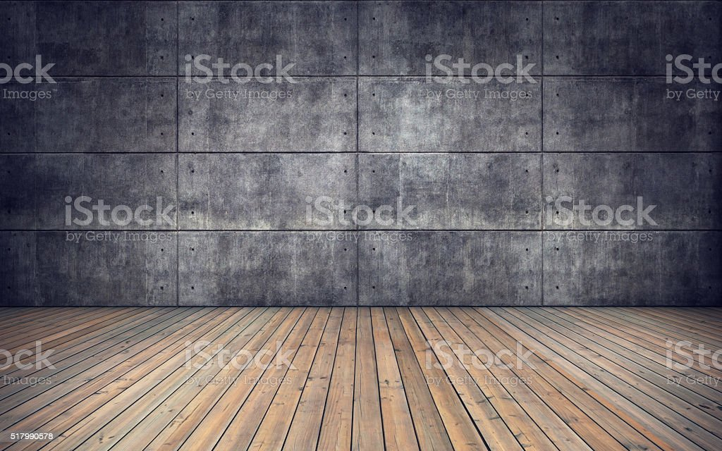 Empty room with wooden floor and concrete tiles wall stock photo