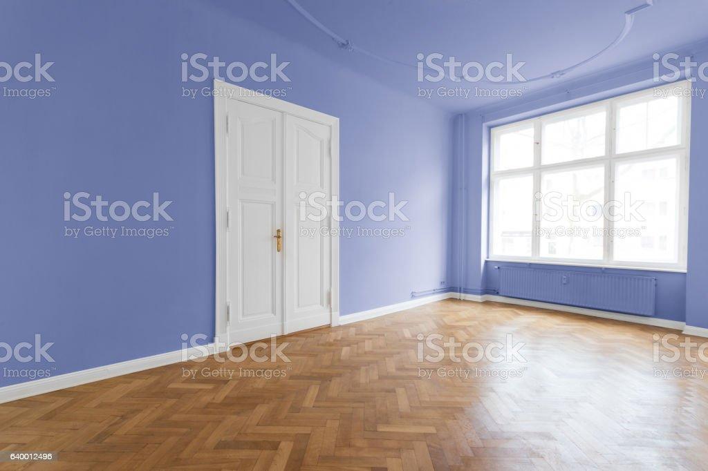 Empty  room with wooden  floor stock photo