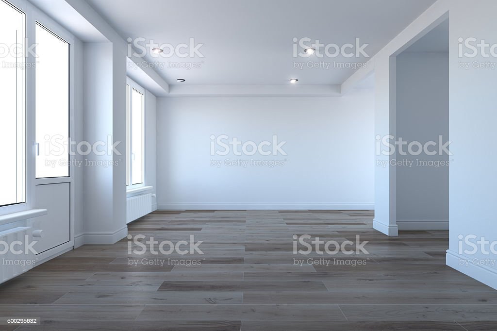 Empty room without furniture stock photo
