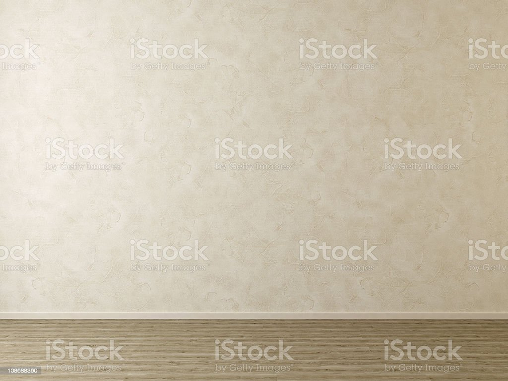 Empty Room without Furniture - Plaster Wall and Wooden Floor stock photo