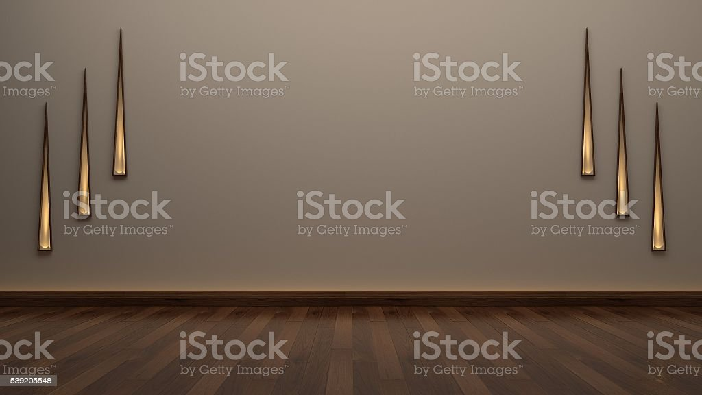 Empty room wodd floor stock photo