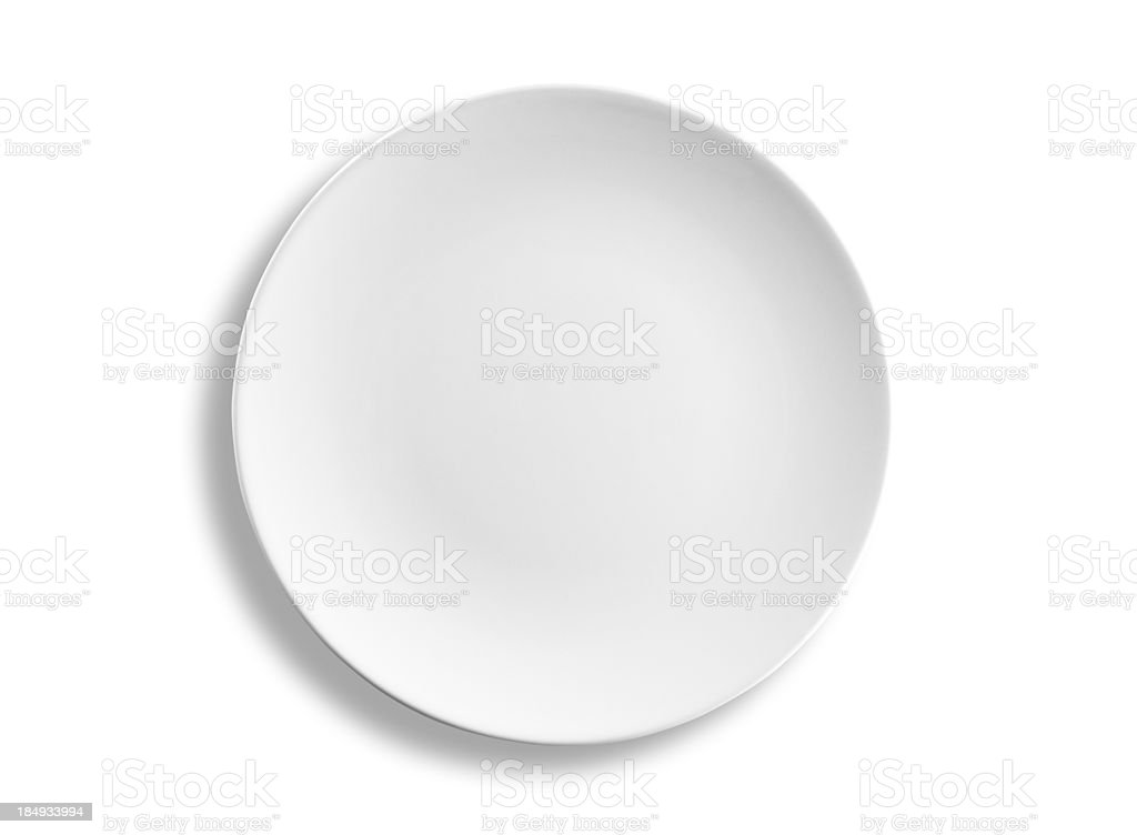 Empty round dinner plate isolated on white background, clipping path stock photo