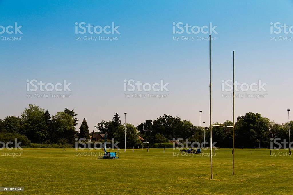 Empty rugby pitches in a local park stock photo