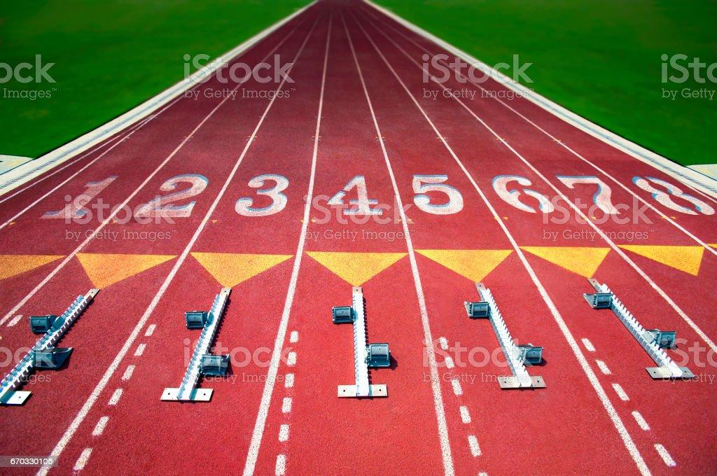 Empty Running track stock photo