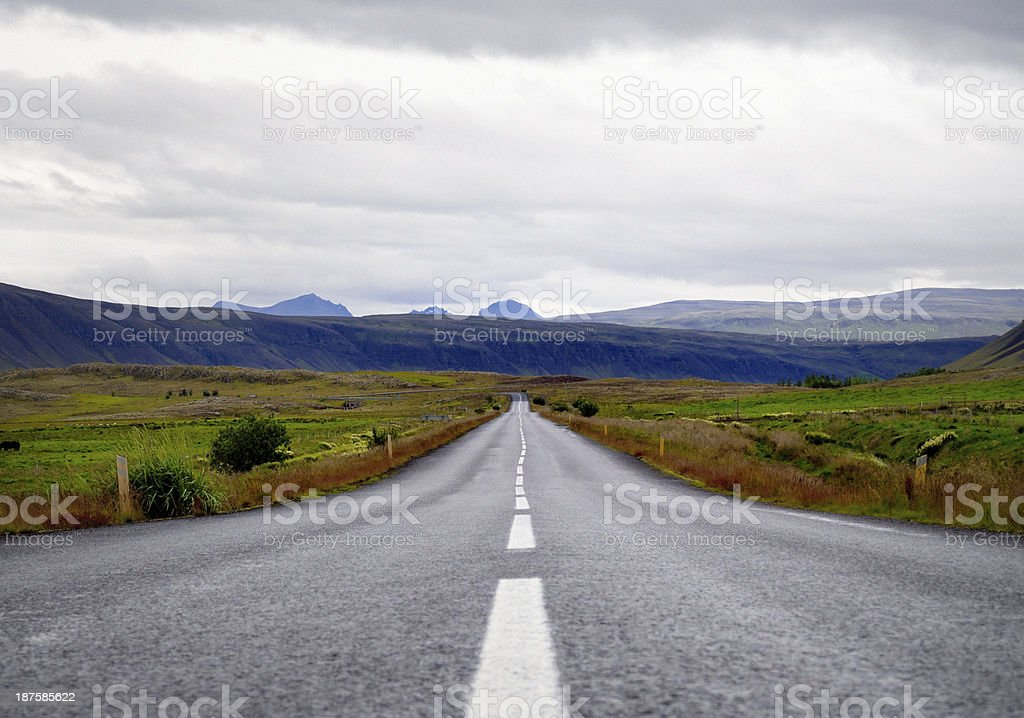 empty rural country road in volcanic landscape on Iceland royalty-free stock photo
