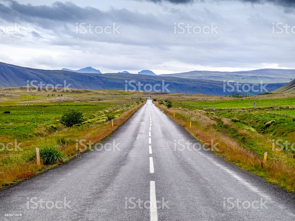 empty rural country road in volcanic landscape on Iceland stock photo