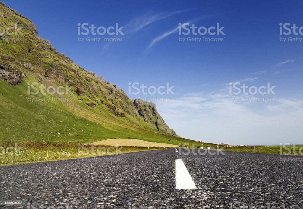 empty rural country road in volcanic landscape royalty-free stock photo