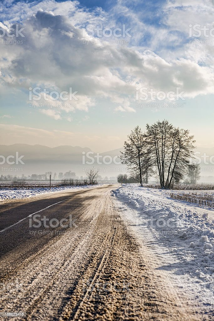 Empty rural road on a winter day royalty-free stock photo