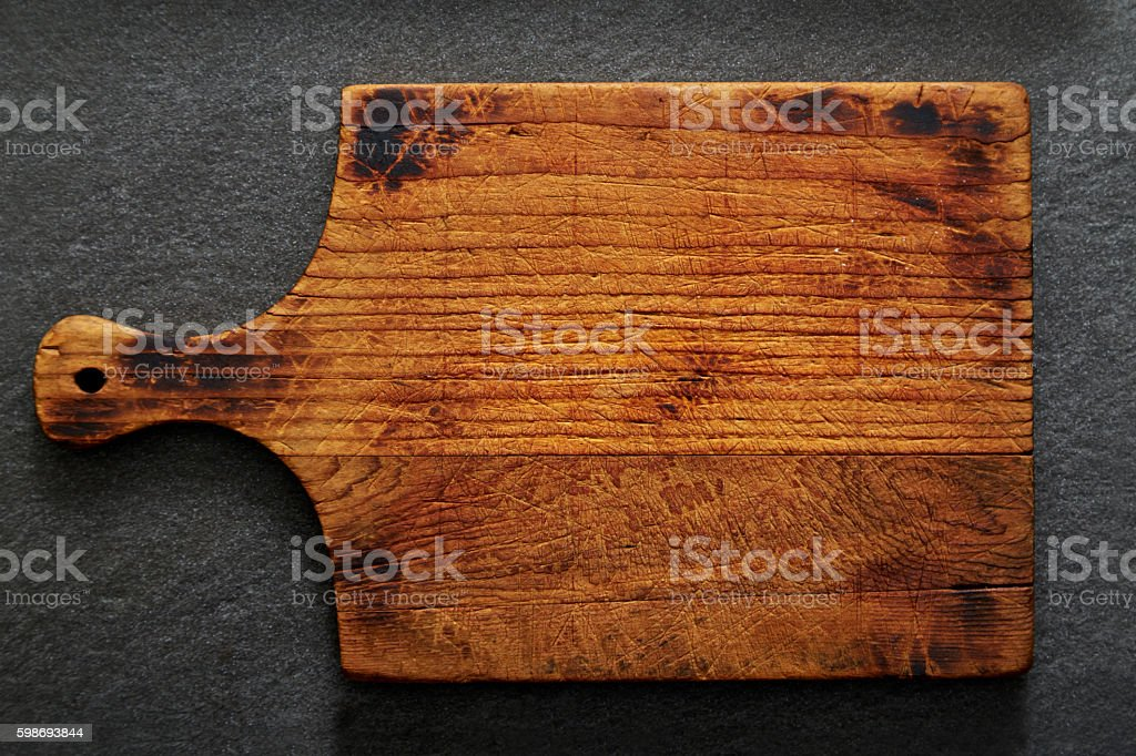 Empty Rustic Cutting Board with Copy Space stock photo