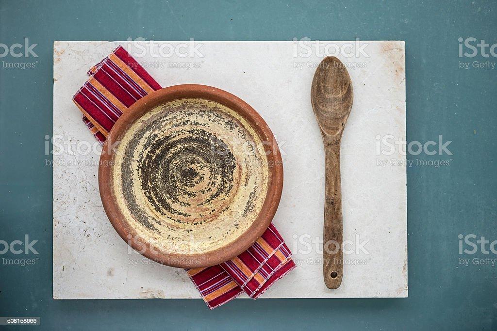 Empty rustic plate stock photo