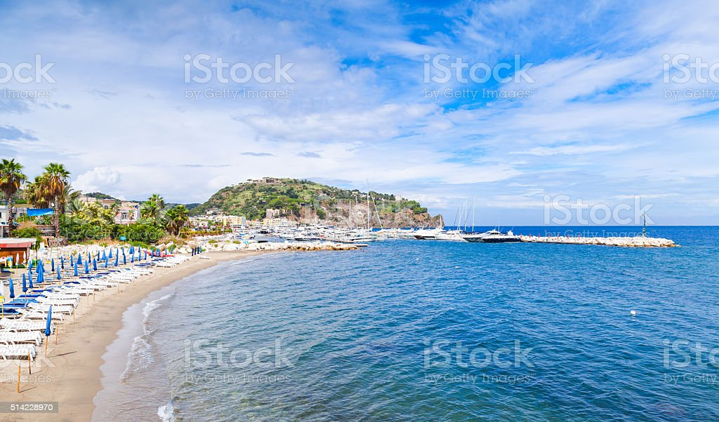 Empty sandy beach of Lacco Ameno resort town stock photo