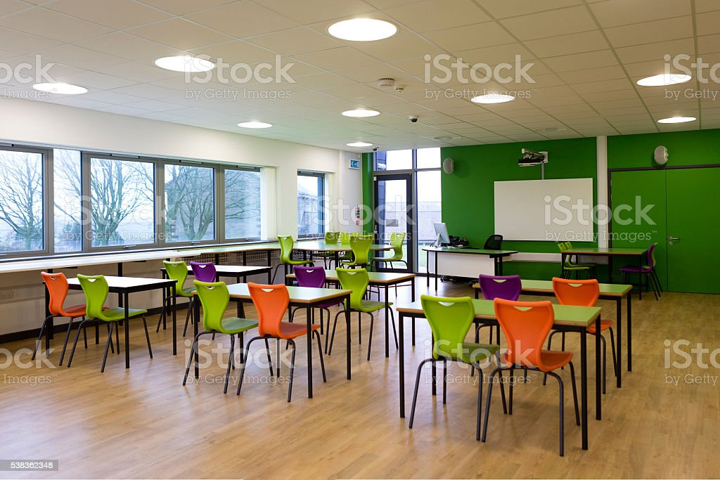 Empty School Classroom stock photo