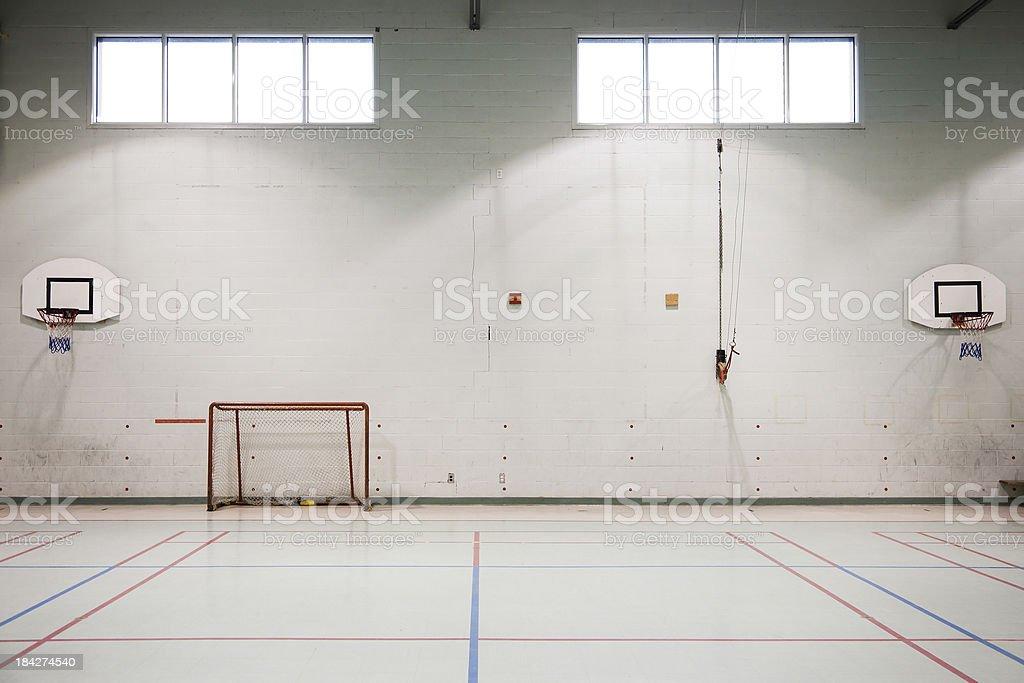 Empty school gymnasium stock photo