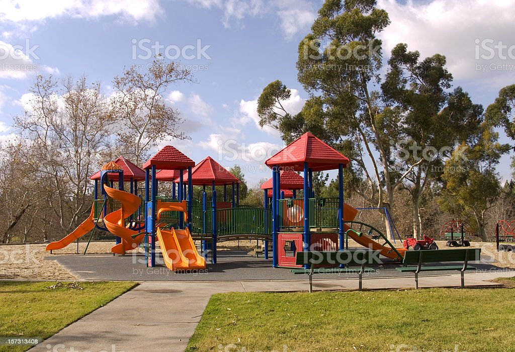 Empty Schoolyard Playground, Outdoor Play Equipment, Nobody at Park stock photo