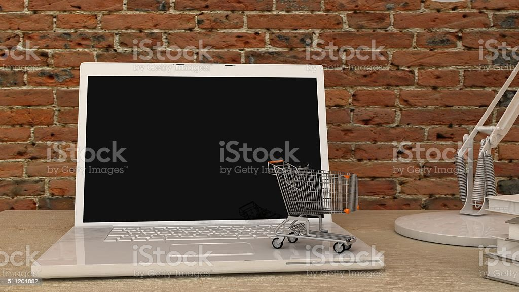 Empty screen with cart on white notebook, laptop stock photo