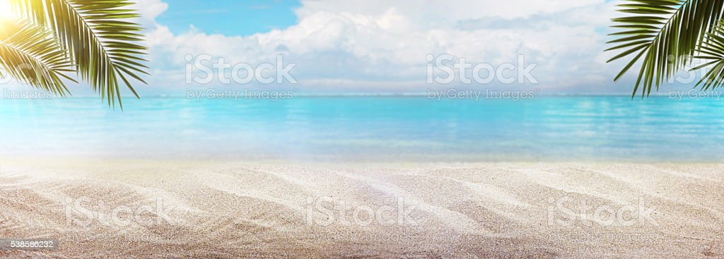 Empty sea and beach background with copy space stock photo