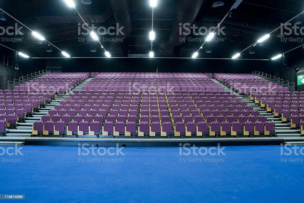 Empty seating at an exhibition centre stock photo