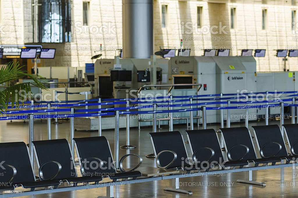 Empty seats and stopped airport equipment in Saturday (Shabbat) stock photo